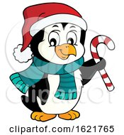 Christmas Penguin Holding A Candy Cane