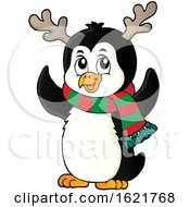 Christmas Penguin Wearing Antlers