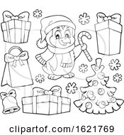 Christmas Penguin And Gifts In Black And White
