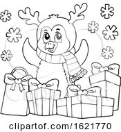 Christmas Penguin With Gifts In Black And White