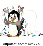Christmas Penguin With Antlers And Lights