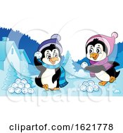 Christmas Penguins Having A Snowball Fight