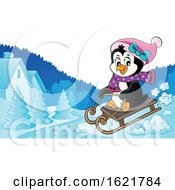 Female Christmas Penguin Sledding