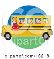 School Bus Driver Man Driving School Children To Or From School Clipart Illustration Image