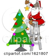 Cartoon Santa Dog Putting A Star On Top Of A Christmas Tree