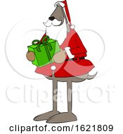 Cartoon Santa Dog Holding A Christmas Present