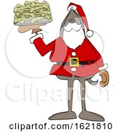 Cartoon Santa Dog With A Platter Of Dog Bone Biscuits