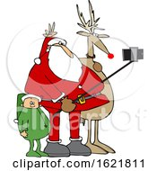 Cartoon Santa Taking A Christmas Selfie With A Reindeer And Elf