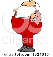 Cartoon Santa Holding His Suspenders