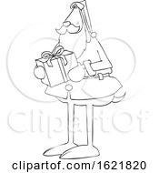 Cartoon Black And White Santa Dog Holding A Christmas Present