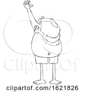 Cartoon Black And White Santa Claus Applying Deodorant