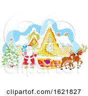 Santa With His Reindeer And Sleigh Outside A Cabin