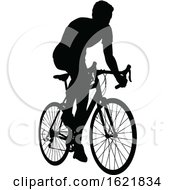 A Bicycle Riding Bike Cyclist In Silhouette by AtStockIllustration