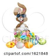 Poster, Art Print Of Easter Bunny Cool Rabbit Eggs Hunt Basket Cartoon