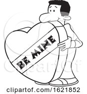 Cartoon Black Man With A Giant Be Mine Valentines Day Heart In Black And White