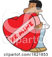 Cartoon Black Man With A Giant Be Mine Valentines Day Heart