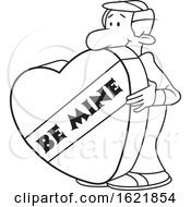 Cartoon Black And White Man With A Giant Be Mine Valentines Day Heart