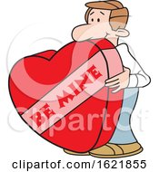 Cartoon White Man With A Giant Be Mine Valentines Day Heart