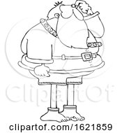 Cartoon Black And White Christmas Santa Claus Missing His Pants