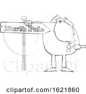 Cartoon Black And White Christmas Santa Claus In Pajamas Fixing A North Pole Sign