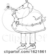 Cartoon Black And White Christmas Santa Claus Blowing A New Years Noise Maker