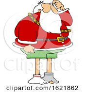 Cartoon Christmas Santa Claus Missing His Pants