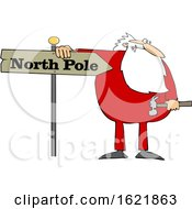 Cartoon Christmas Santa Claus In Pajamas Fixing A North Pole Sign