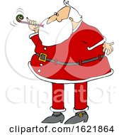 Cartoon Christmas Santa Claus Blowing A New Years Noise Maker