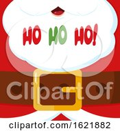 Closeup Of Santas Christmas Suit And Beard With Ho Ho Ho Text