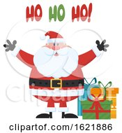Closeup Of Santa Claus Welcoming With Open Arms Saying Ho Ho Ho