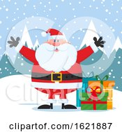 Closeup Of Santa Claus Welcoming With Open Arms In The Snow