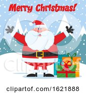 Closeup Of Santa Claus With Gifts In The Snow Under A Merry Christmas Greeting