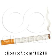 Burning Cigarette With Rising Smoke Over A White Background