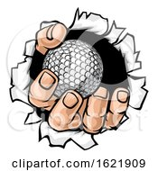 Poster, Art Print Of Golf Ball Hand Tearing Background