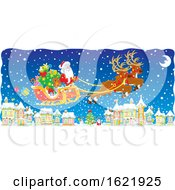 Santa And His Magic Flying Reindeer Over A Snowy Village