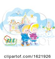Caucasian Boy And Girl Holding Hands And Walking With A Sled