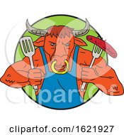 Bull Holding Barbecue Sausage Drawing Color