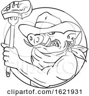 Cowboy Hog Holding Barbecue Steak Drawing Black And White