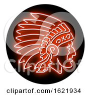Native American Indian Chief Glowing Neon Sign Circle