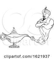 Genie Coming Out Of Oil Lamp Black And White Drawing