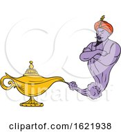 Genie Coming Out Of Golden Oil Lamp Drawing Color