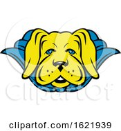 Super Yellow Lab Dog Wearing Blue Cape