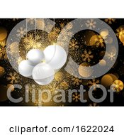 Christmas Baubles On Golden Snowflake Background 0908