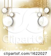 Christmas Menu Or Border Design With Hanging Baubles