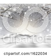 3D Snowy Landscape With Winter Trees