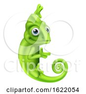 Chameleon Cartoon Lizard Character by AtStockIllustration
