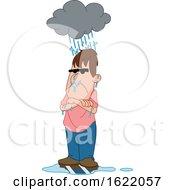 Cartoon Man Under A Glomy Rain Cloud