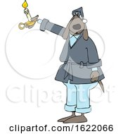 Cartoon Dog In A Robe Holding A Candle