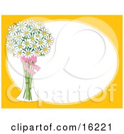 Vase Of White Daisy Flowers With A Red Bow Over A Frame Bordered With Yellow Clipart Illustration Image