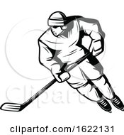 Black And White Hockey Player